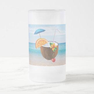 Tropical Beach,Blue Sky,Ocean Sand,Coconut Coctail Frosted Glass Beer Mug