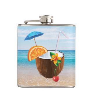 Tropical Beach,Blue Sky,Ocean Sand,Coconut Coctail Hip Flask