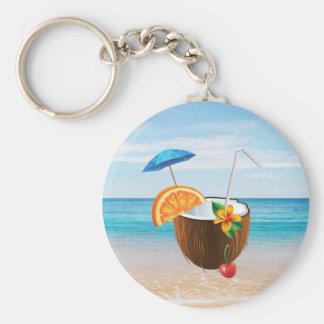 Tropical Beach,Blue Sky,Ocean Sand,Coconut Coctail Keychain