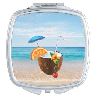 Tropical Beach,Blue Sky,Ocean Sand,Coconut Coctail Mirror For Makeup