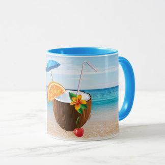 Tropical Beach,Blue Sky,Ocean Sand,Coconut Coctail Mug