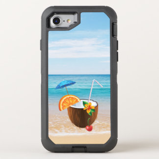 Tropical Beach,Blue Sky,Ocean Sand,Coconut Coctail OtterBox Defender iPhone 8/7 Case