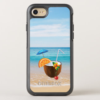 Tropical Beach,Blue Sky,Ocean Sand,Coconut Coctail OtterBox Symmetry iPhone 7 Case