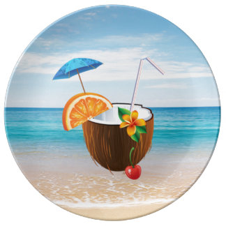 Tropical Beach,Blue Sky,Ocean Sand,Coconut Coctail Plate