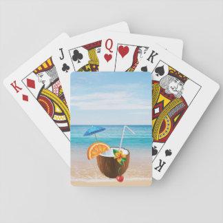Tropical Beach,Blue Sky,Ocean Sand,Coconut Coctail Playing Cards