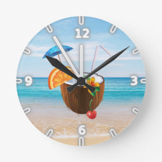 Tropical Beach,Blue Sky,Ocean Sand,Coconut Coctail Round Clock