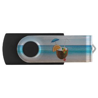 Tropical Beach,Blue Sky,Ocean Sand,Coconut Coctail Swivel USB 3.0 Flash Drive