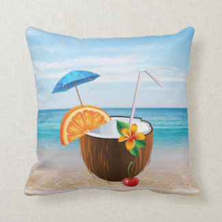 Tropical Beach,Blue Sky,Ocean Sand,Coconut Coctail Throw Pillow