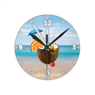 Tropical Beach,Blue Sky,Ocean Sand,Coconut Coctail Wall Clocks