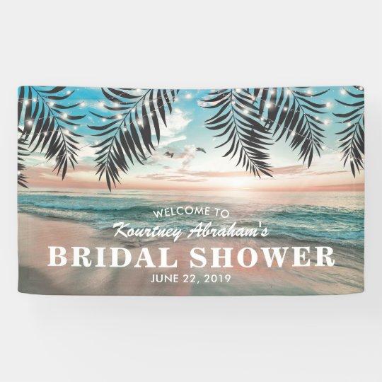 Tropical Beach Bridal Shower | String of Lights Banner