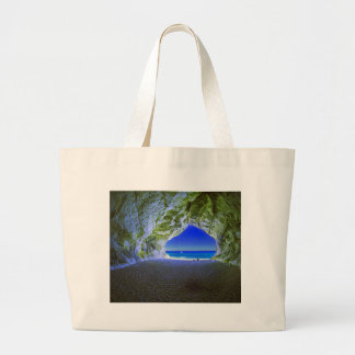 Tropical Beach Cave White Sandy Shore Large Tote Bag