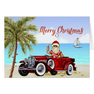 Tropical Beach Christmas Card Duesenberg