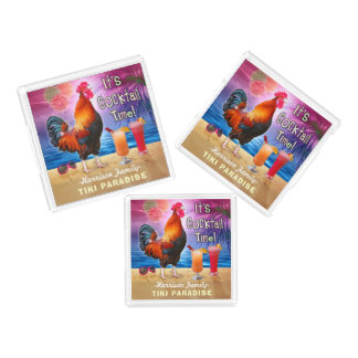 Tropical Beach Cocktail Bar Funny Rooster Chicken Acrylic Tray