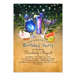 Tropical Beach Cocktail Birthday Party Card