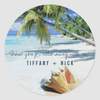 Tropical Beach Destination Wedding Favor Stickers