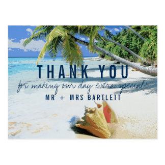 Tropical Beach Destination Wedding Thank You Postcard