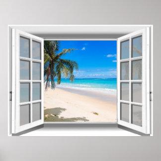 Tropical Beach Fake Window View 3D Poster