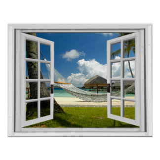 Tropical Beach Faux Artificial Window View Poster