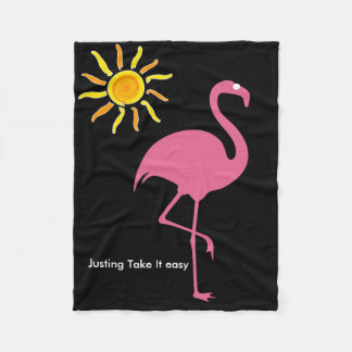 Tropical Beach Flamingo Fleece Blanket