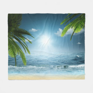 Tropical Beach Fleece Blanket