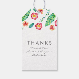 Tropical Beach Flowers and Palm Leaves Wedding Gift Tags