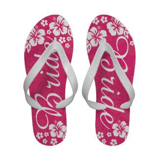 Tropical Beach Flowers Wedding Flip Flop Sandals