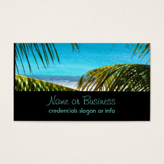 Tropical Beach framed with Palm Fronds Business Card
