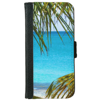 Tropical Beach framed with Palm Fronds iPhone 6 Wallet Case