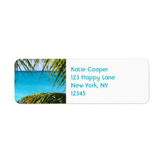 Tropical Beach framed with Palm Fronds Custom Return Address Labels