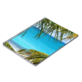 Tropical Beach framed with Palm Fronds Note Book
