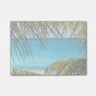 Tropical Beach framed with Palm Fronds Sticky Note