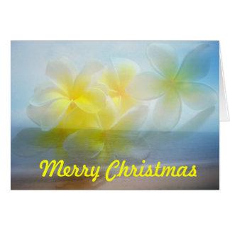 Tropical beach frangipani Merry Christmas Card