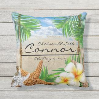 Tropical Beach Fun Throw Pillow