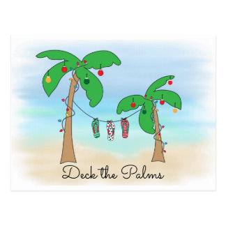 Tropical Beach Hawaiian Christmas Deck The Palms Postcard