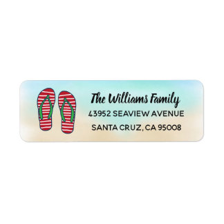 Tropical Beach Hawaiian Christmas Red Flip Flops