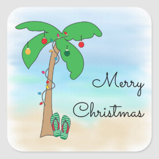 Tropical Beach Hawaiian Christmas Square Sticker