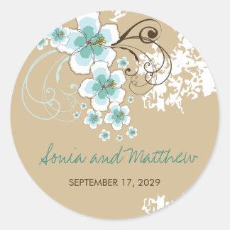 Tropical Beach Hibiscus Blue Wedding Favor Sticker
