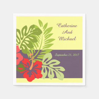 Tropical Beach Hibiscus Flower Wedding Disposable Napkin