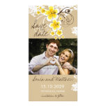 Tropical Beach Hibiscus Yellow Save The Date Card Custom Photo Card