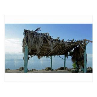tropical beach hut postcard