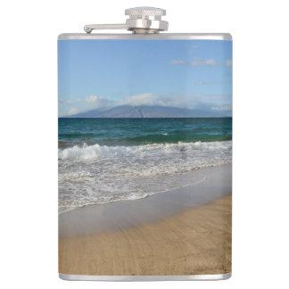 Tropical Beach in Maui Hawaii Hip Flask
