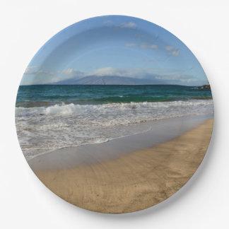 Tropical Beach in Maui Hawaii in Maui Hawaii Paper Plate