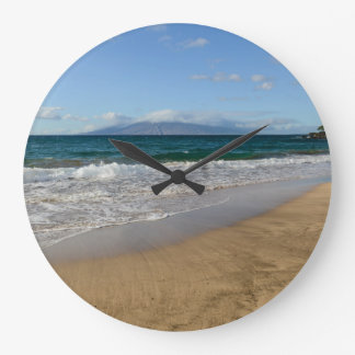 Tropical Beach in Maui Hawaii Large Clock