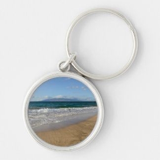 Tropical Beach in Maui Hawaii Silver-Colored Round Keychain