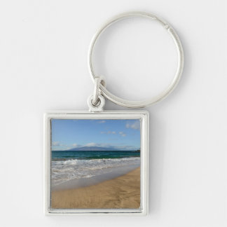 Tropical Beach in Maui Hawaii Silver-Colored Square Keychain