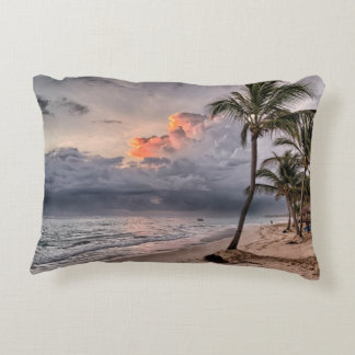 Tropical beach in the Caribbean Decorative Pillow