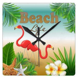 Tropical Beach Life Design with Flamingos Square Wall Clock
