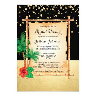 Tropical Beach Luau Black Gold Bridal Shower Card