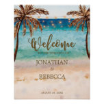 tropical beach modern wedding welcome sign poster
