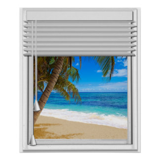 Tropical Beach Ocean View Fake Window With Blinds Poster
